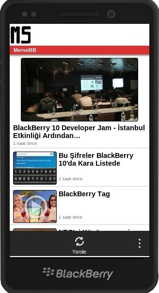 BlackBerry App Generator ile geliştirilen uygulama telefonda böyle gözüküyor.