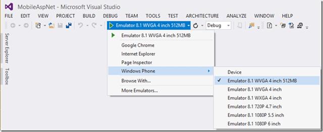 Visual Studio üzerinde Windows Phone emülatörleri