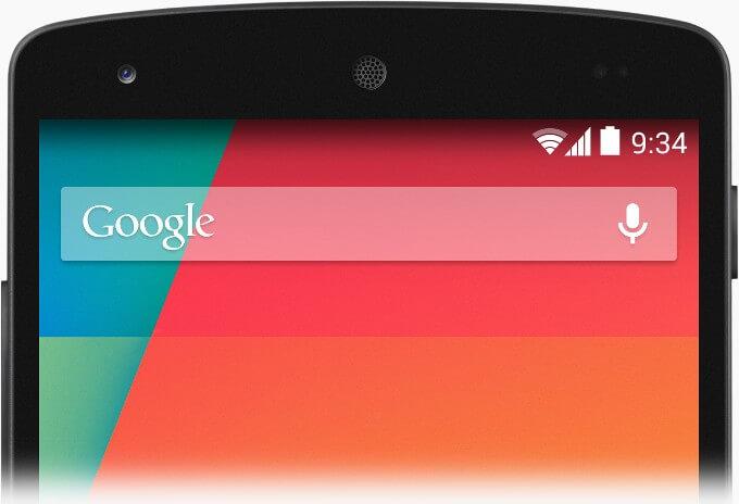 Saf Android KitKat yarı saydam bir sistem arayüzüne sahip.