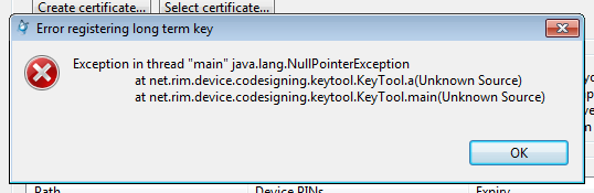 Error registering hatası