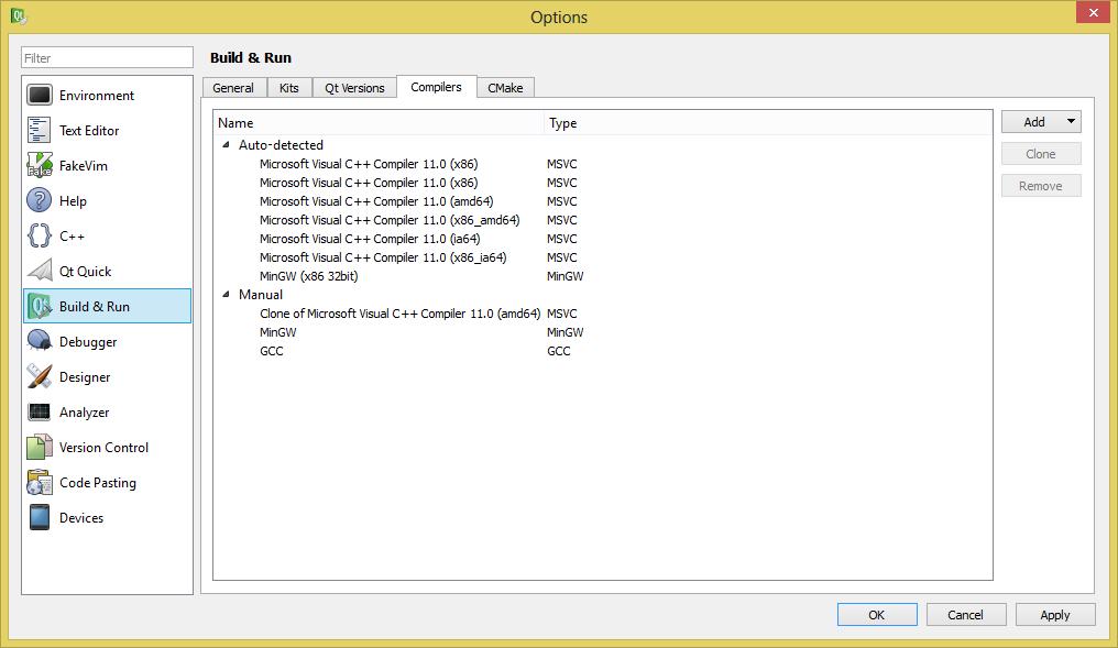 Resim 1: Qt Creator Bıild & Run, Compilers sekmesi
