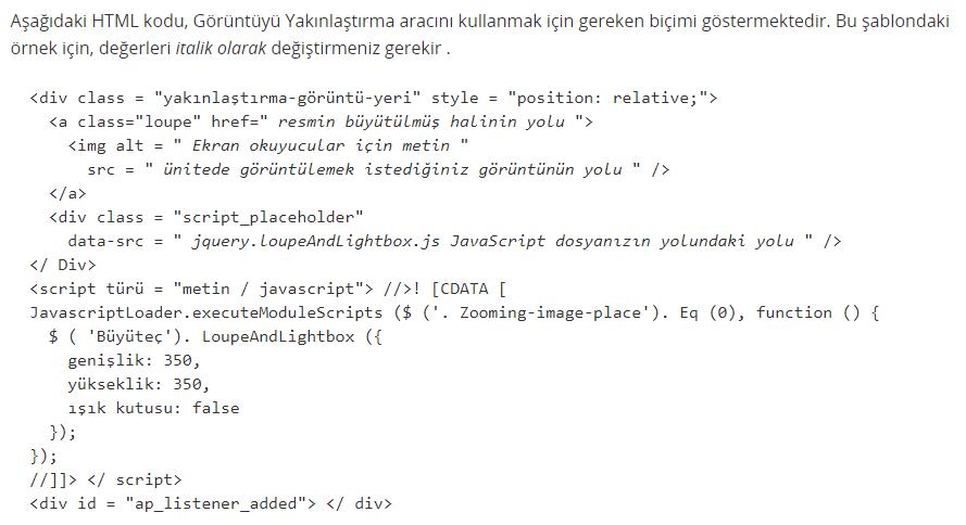 Görsel Yakınlaştırma Aracı'nı kullanmak için gereken kodlar