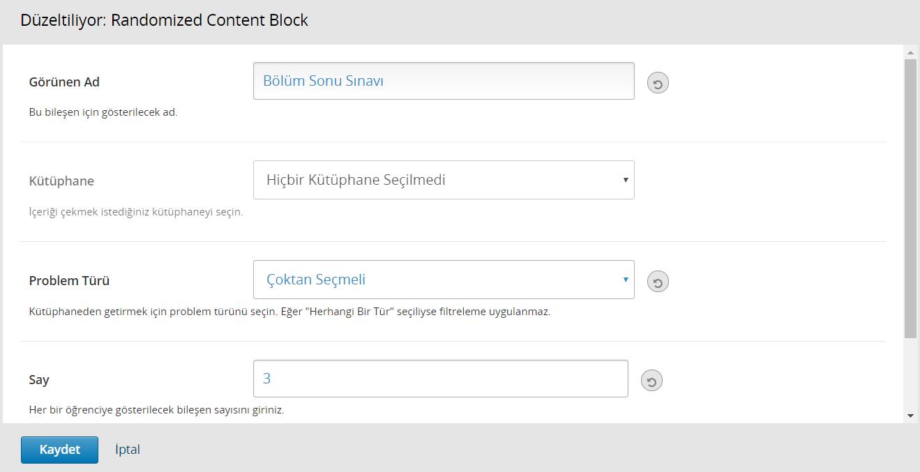 Randomized Content Block eklentisinden soru çekme işlemi