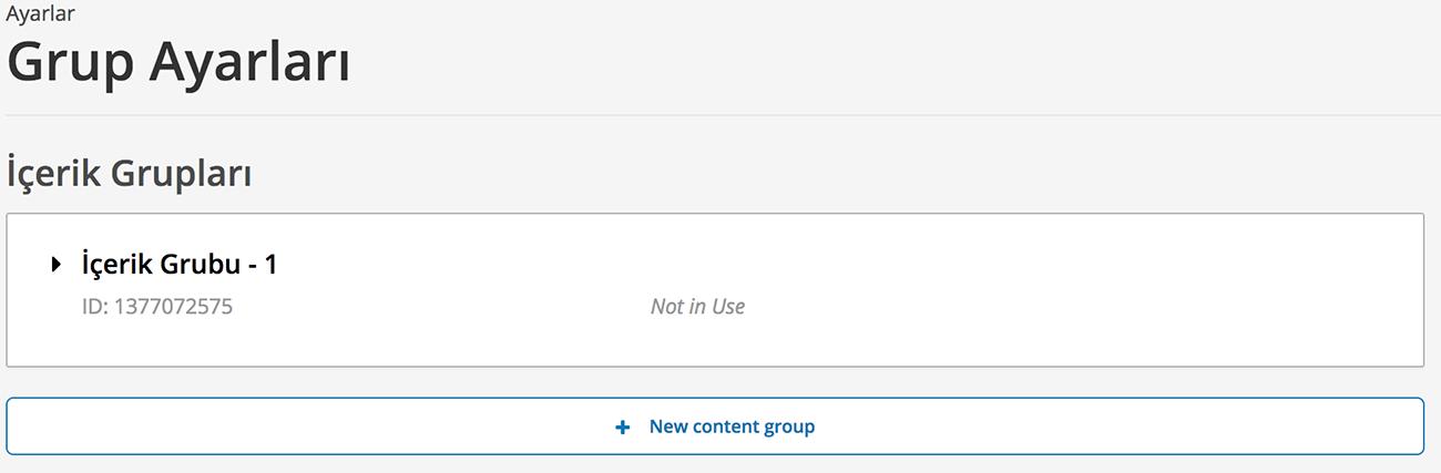 Oluşturulan içerik gruplarının listesi