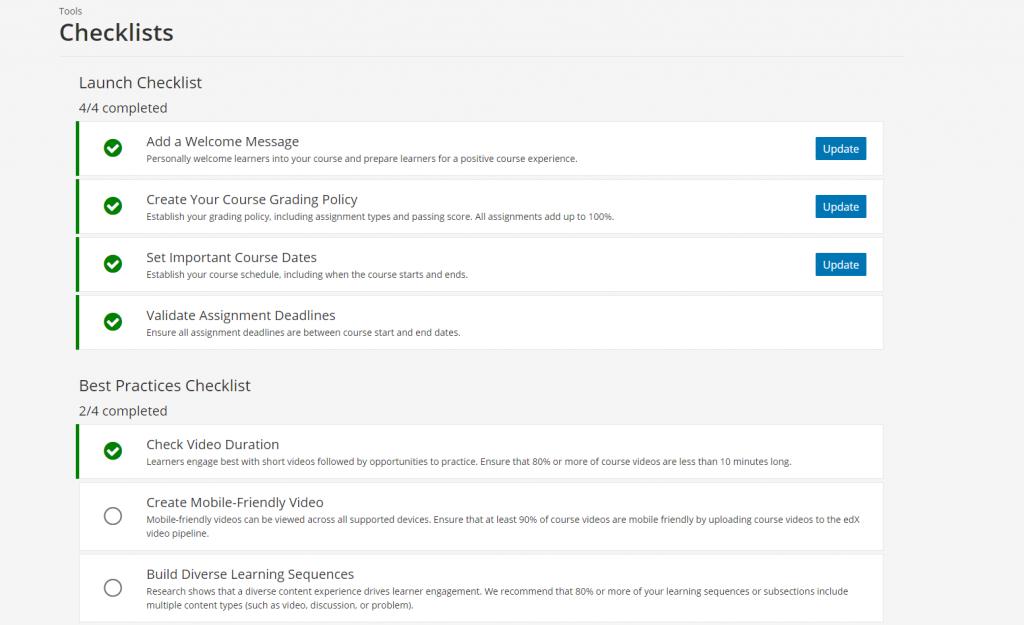 Open edX Ironwood'da ders kontrol listesi