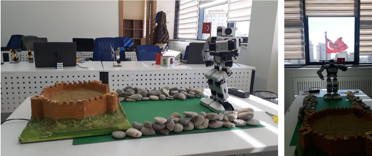 Gaziantep kalesine doğru elinde Türk bayrağıyla yürüyüşe geçen Yanshee robot!