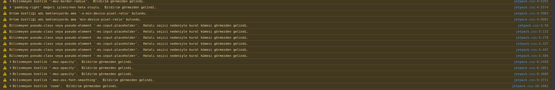 ChromeDevToolsiçerisindeJavaScripthatalarını veya uyarılarını gördüğümüz konsol