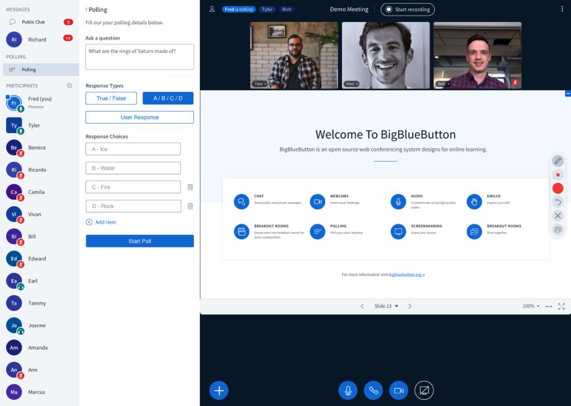 BigBlueButton 2.3 sürümünde videokonferans sırasında tüm sınıfa açık uçlu sorular yöneltebilirsiniz